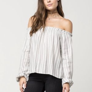 FULL TILT Speckled Stripe Off The Shoulder top